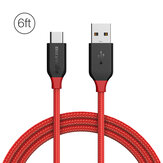 BlitzWolf® AmpCore BW-TC6 3A USB Type-C Braided Charging Data Cable 6ft/1.8m With Magic Tape Strap