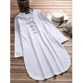 Plus Size Ethnic Style Frog Button Long Cotton Blouse