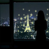 Luminous Eiffel Tower Wall Stickers Glow In Darkness Home Room Window Wall Decor
