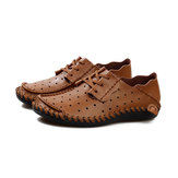 Men Soft Leather Breathable Hollow Out Oxfords Lace Up Walking Shoes