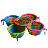L'eau potable portative de nourriture pour chiens de bol d'animal familier de silicone se pliant alimente le bol en plein air