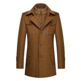 Winter Men's Unique Collar Warm Wool Trench Fashion Zipper Button Thick Jacket Coat