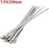 10pcs 7.9X250mm Ball Lock Metal Stainless Steel Zip Ties Wrap Strap