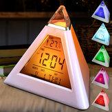 Pyramide forme réveil numérique avec la température de la date 7 couleurs changement de lumière LED