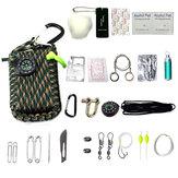 22In1MultifunctioneleOutdoorFishingSurvival Kit Parachute Cord First Aid Emergency Survival Tools