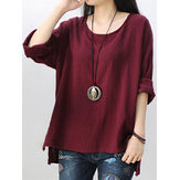 Retro Solid Color High Low Shirts