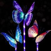 3pcs Solar Multi-color Fiber Optic Butterfly LED Stake Light pour décoration de jardin en plein air