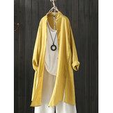 Women Vintage Stand Collar Long Sleeve Autumn Blouse