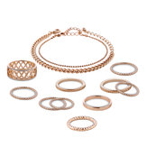12 Pcs of Gold Plated Hollow Rings Chain Bracelets Jewelry Set
