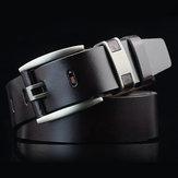 108CM Business Alloy Buckle Leather Belt Plain Waistband