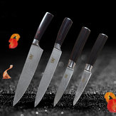 4Pcs XYj Kitchen 7Cr17 Utility Chef Slicing Stainless Steel Knife Set Paring Utility Chef Slicing Knife Color Wood Handle Cooking Knives Kitchenware