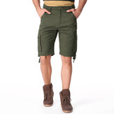 Men Cotton Multi Pockets Casual Loose Cargo Shorts