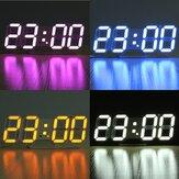 3D LEDデジタルウォールクロック目覚し時計USBステレオクロック内蔵自動光センサー日時温度表示機能