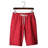 Summer Men's Cotton Drawstring Shorts Pure Color Casual Knee-length Beach Shorts Pants