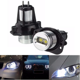Pair White Angel Eyes LED Halo Ring Maker 6W Light Bulb For BMW E90 E91