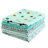 9PCS DIY Blue Handmade Cotton Plain Fabric Craft  Batiks Cloth Assorted Square Quilting Set