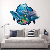 Miico Creative 3D Sea Fish Dolphin Removable Home Room Decorative Wall Decor Sticker