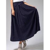 Women High Elastic Waist Cotton Linen Solid Long Maxi Skirt
