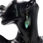 Bohemian Blue Leaf Turquoise Tassel Earring Drop for Women