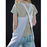 Striped Pockets Pinafore Japanese Dress