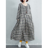 Women Cotton Plaid Long Maxi Shirt Dress