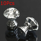 10Pcs 20mm Round Crystal Glass Cabinet Knobs Drawer Furniture Pull Handle