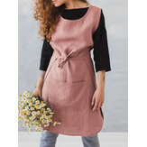 Sleeveless Pocket Cotton Solid Vintage Apron Dress