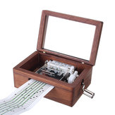 15 Tone DIY Hand Cranked Walnut Veneer Music Box With Hole Puncher 30Pcs Paper Tapes