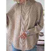 Suéteres de punto de manga de murciélago con dobladillo irregular de color sólido Mujer