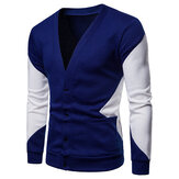Original Men Color Block Dual Pockets Button Cardigans