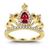 Anillodelacoronadezirconia anillo de compromiso de oro 18K princesa anillo