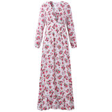 Women Sexy V-Neck Floral Dresses Printing Elastic Waist Low Cut Maxi Dresses
