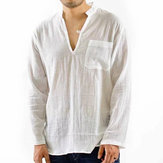 Vintage Breathable V-neck Solid Color Loose Casual Shirts