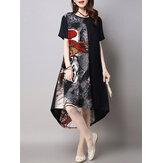 Vintage Printed Patchwork Dress