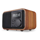 iBOX D90 Wooden Subwoofer Alarm Clock Microphone Bluetooth Speaker Support U Disk TF Card AUX