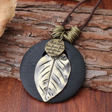 Ethnic Wood Alloy Leaf Pendant Necklaces