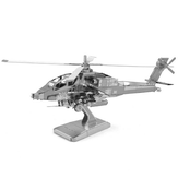 DIY 3D Puzzle Stainless Steel Assembled Model AH64 Apache Silver Color