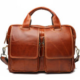 Original Cowhide Oiled Full-Grain Leather Laptop Messenger Bag
