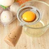 KCASA KC-ES029 Separador de huevos de acero inoxidable Sonido Mango de madera Huevo blanco Separador de huevos Cocina herramientas