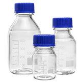 100/250 / 500mL bouteille de réactif claire en verre de borosilicate bouteille de stockage médicale bleue de laboratoire