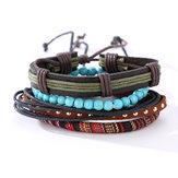 Bracelets multicouche réglable perles tissées en cuir Bracelet