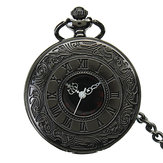 DEFFUN Vintage Hollow Roman Flower Alloy Pocket Watch
