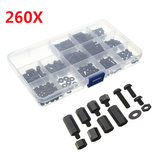 Suleve ™ M3NH2 M3 Vis Nylon Noire Hexagonale Écrou Nylon PCB Impasse Kit Assortement 260pcs