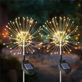 2 PCS solaire alimenté 105LED Starburst Fireworks fée chaîne paysage lumière Noël décor extérieur