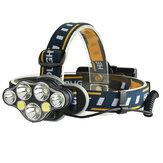 XANES 2606-7 1900LM 3*T6+2*XPE+2*COB 8 Modes Phare de bicyclette Interface de batterie USB 2*18650