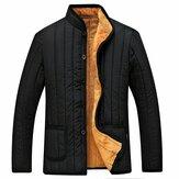 Mens Winter Black Fleece Thick Warm Stand Collar Jacket