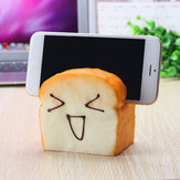 Jumbo Squishy 7 Seconds Slow Raising Slice Toast Joy Happy Faces Mobile Phone Seat Cell Phone Holder