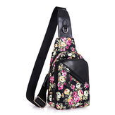 Women Vintage Floral Print Nylon Crossbody Bag Capacity Light Functional Chest Bag