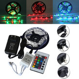 5M SMD 3528 300 Non-Waterproof LED RGB Strip Flexible Light 24 Key IR Remote + Power Adapter DC12V