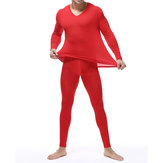 Mens Basis Bottoming Long Johns Thermal Underwear Sets Plus Size M-4XL